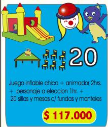 combo 7 ( show de animacion, juego inflable mediano , sillas y mesas )